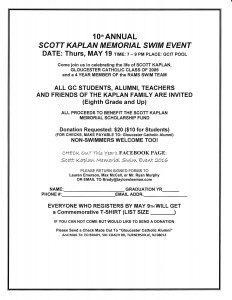 10th Annual Scott Kaplan Memorial Swim Meet Set: Register Early!