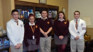 December Students of Month (l to r): Junior High — Devin Diehl; Freshman — Jenna Belfus; Sophomore — George Rumble;  Junior — Carly Fultano; Senior — Joe Liscio.