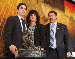 Guy Gaudreau (right) with his son Johnny Gaudeau and wife Jane Gaudreau during the Hobey Baker Award ceremony in Philadelphia in 2014.
