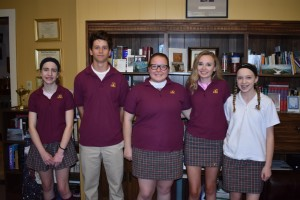 April 2017 Students of the Month: Freshman -- Shelby Longo; Junior -- Andrew Vail; Senior -- Renee DeAngelis;  Sophomore -- Megan Hall;  Junior High -- Carlie Anyzek.