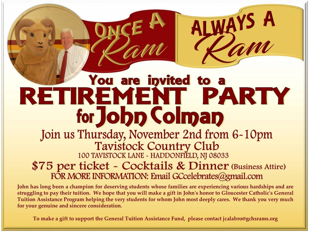 Limited Number of Tickets Available for John Colman Retirement Party on Nov. 2 at Tavistock