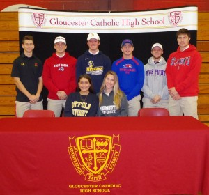 Gloucester Catholic student athletes who announced college choices recently, include: Front Row (L to R) -- Brooke Cloak (Suffolk) and Camyn McHugh (Monmouth); Back Row (L to R) -- Andrew Vail (Maryland), Evan Giordano (Stony Brook), Michael Zelinski (Neumann), Drew Guldin (UMass-Lowell), Zach Raudenbush (High Point) and Ian Murphy (St. John's).